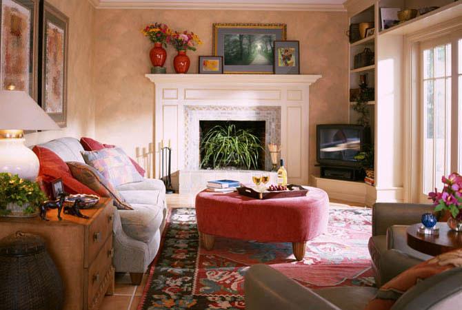 фотографии интерьеров комнат с электрокамином